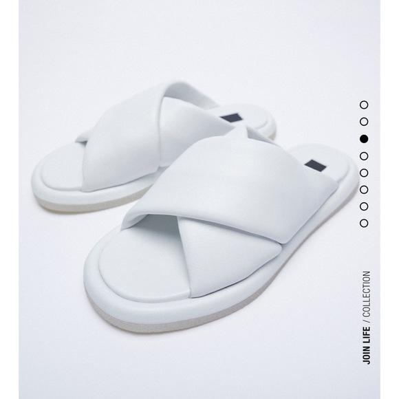 Zara low heeled leather crossed sandals